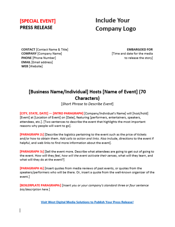Press release template for an event