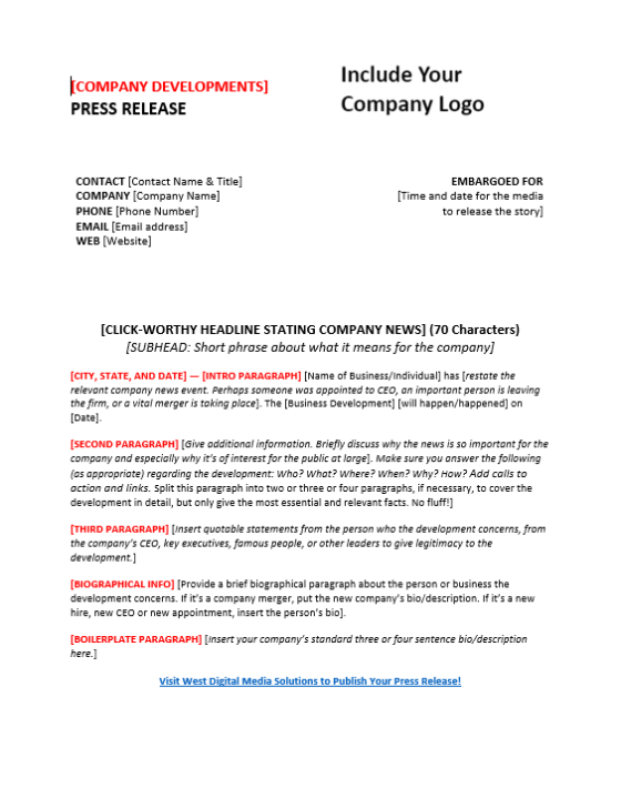 Press release template for company developments